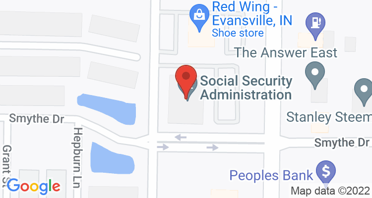 Evansville, IN Social Security Office Map