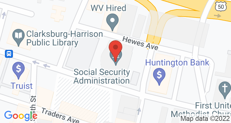Clarksburg, WV Social Security Office Map