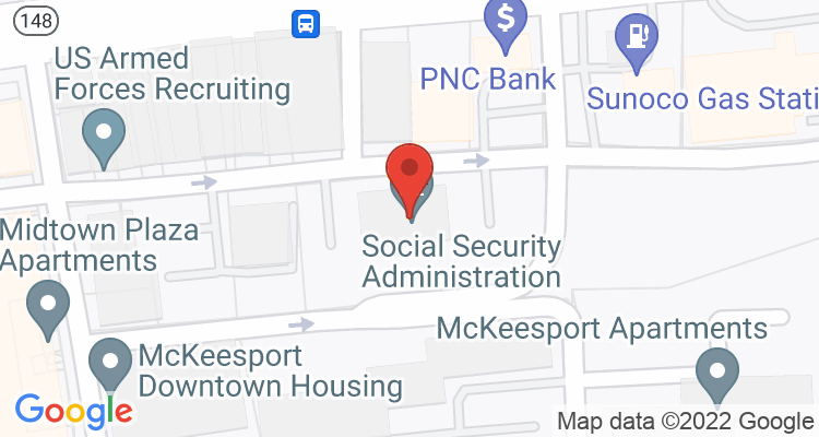 Mckeesport, PA Social Security Office Map