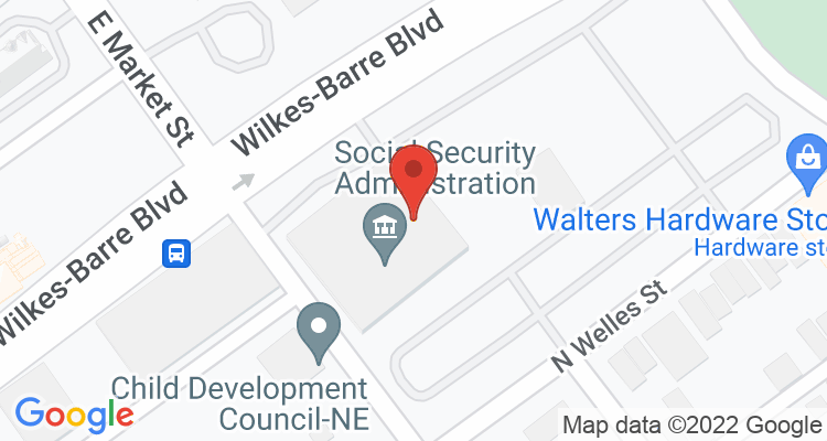 Wilkes Barre, PA Social Security Office Map