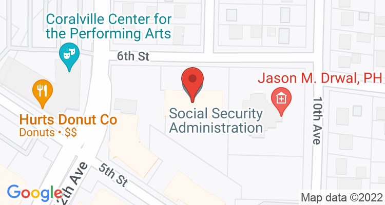 Coralville, IA Social Security Office Map