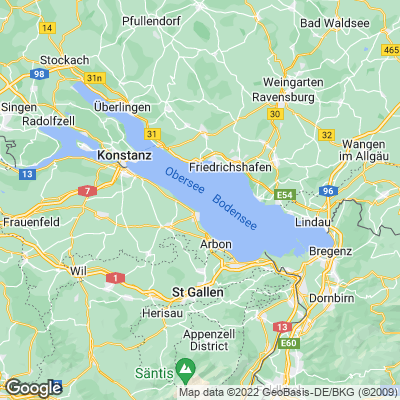 Karte vom Bodensee