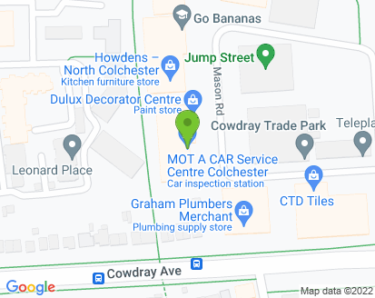 Map for MOT a Car Service Centre Colchester