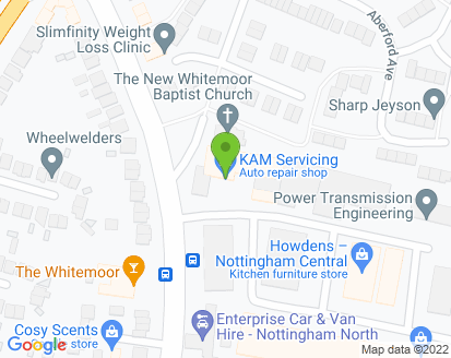 Map for KAM Servicing Nottingham