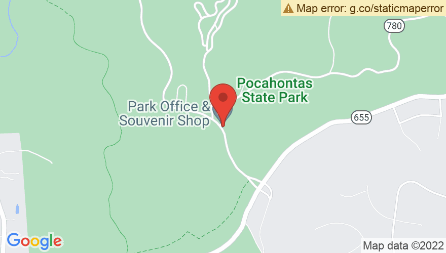 Map for Heritage Amphitheater at Pocahontas State Park