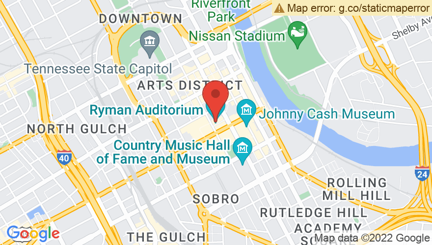 Map for Ryman Auditorium