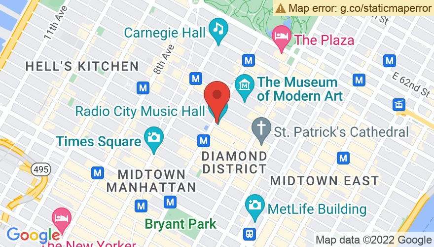 Map for Radio City Music Hall
