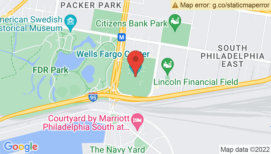 Map for Wells Fargo Center