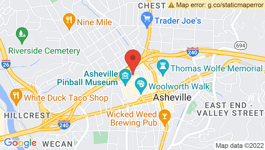 Map for ExploreAsheville.com Arena