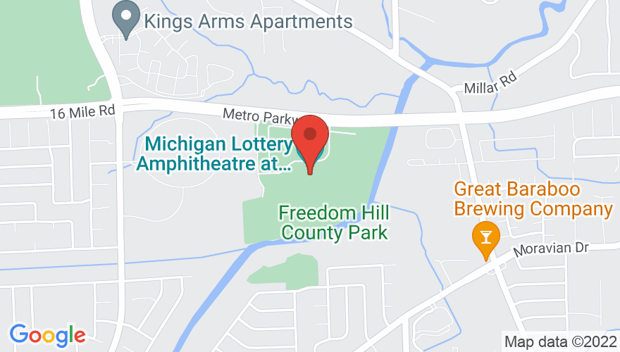 Map for Michigan Lottery Amphitheatre At Freedom Hill