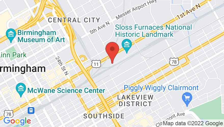 Map for Sloss Furnaces
