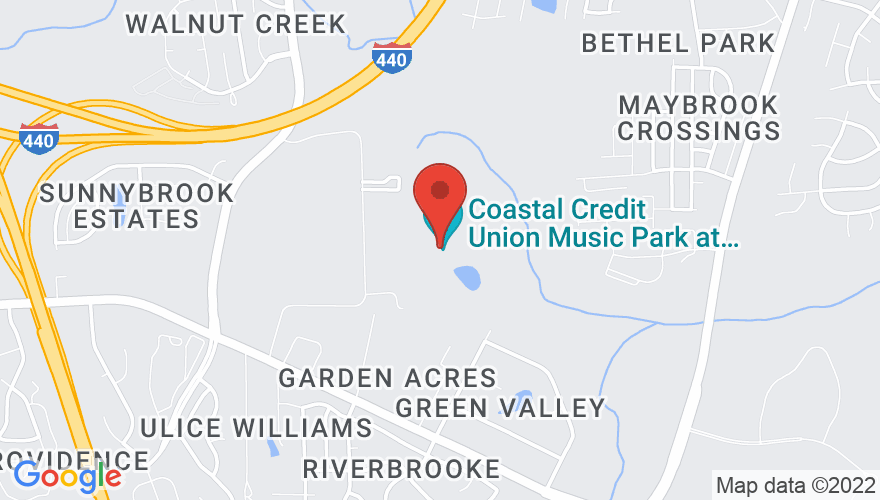 Map for Coastal Credit Union Music Park at Walnut Creek