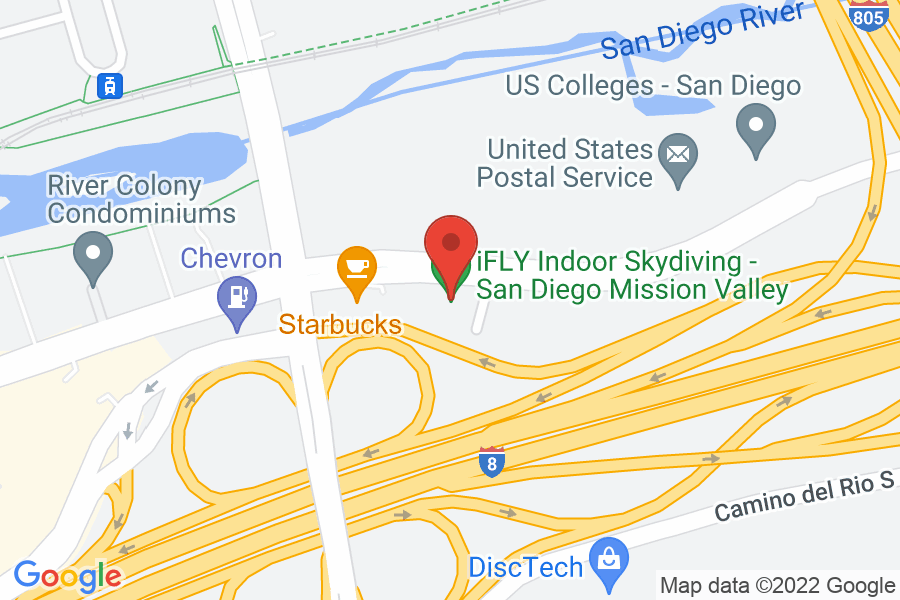 Map to iFly San Diego