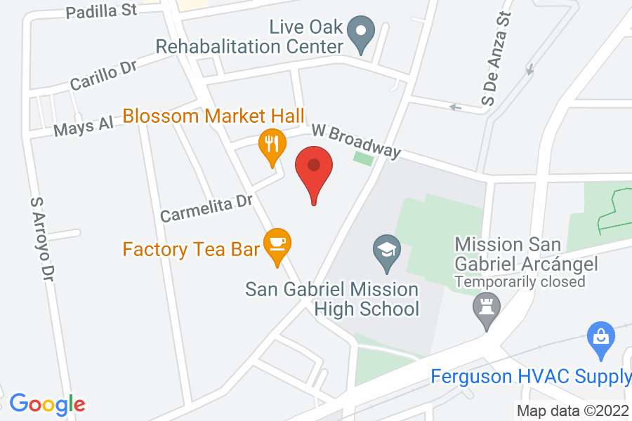 Map to San Gabriel Mission Playhouse