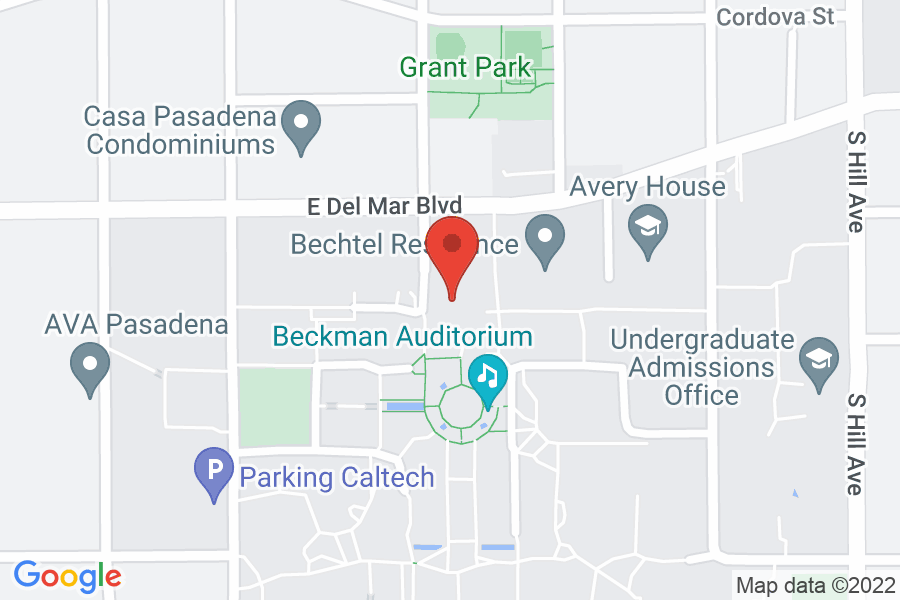 Map to Beckman Auditorium at Caltech (California Institute of Technology)