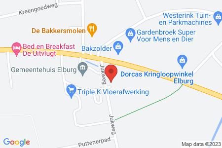 Kaart behorende bij: Rectificatie Jukweg 1, 8081 RD Elburg.