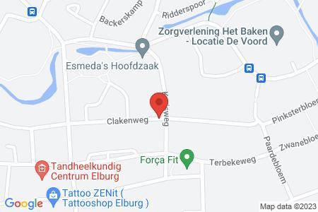 Kaart behorende bij: Tijdelijk plaatsen van een afvalcontainer hoek Clakenweg/Kruisweg