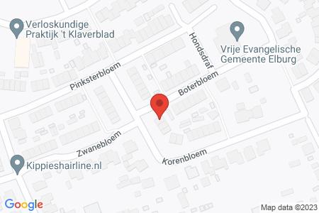 Kaart behorende bij: Korenbloem 13 en 15, 8081 DH Elburg
