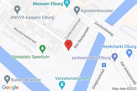 Kaart behorende bij: Verkeersbesluit aanwijzen parkeerplaats(en) ten behoeve van het opladen van elektrische voertuigen op het parkeerterrein Oude Gasfabriek te Elburg