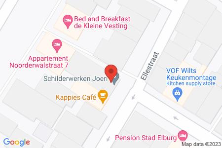 Kaart behorende bij: Ellestraat 12, 8081 GE, Eendehoeksteeg 1A, 1B, 3 en 5, 8081 GS en Noorderwalstraat 7, 8081 GL Elburg