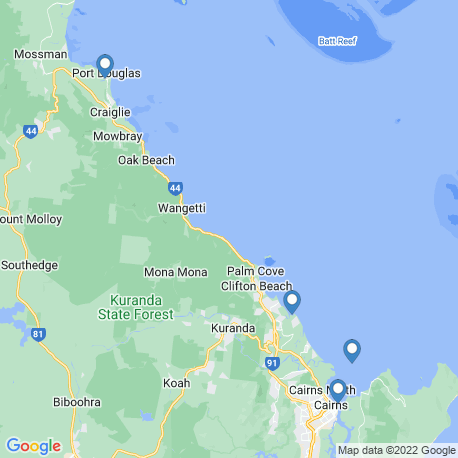 map of fishing charters in Cairns