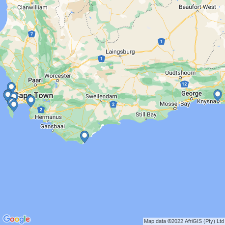 map of fishing charters in Western Cape