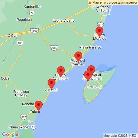map of fishing charters in Puerto Aventuras