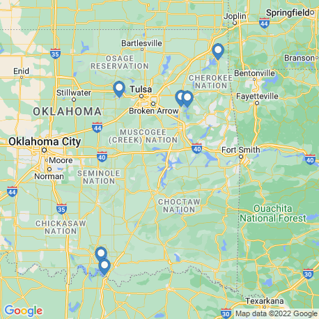 map of fishing charters in Oklahoma