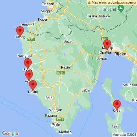 map of fishing charters in Opatija