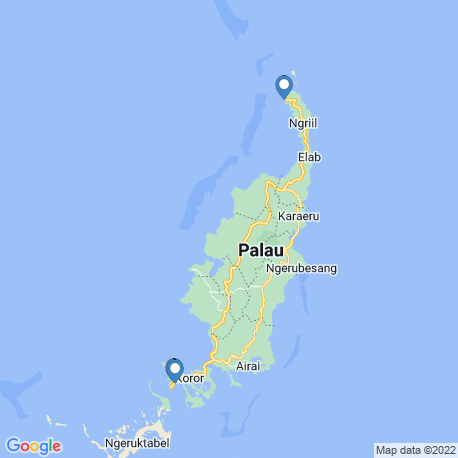 map of fishing charters in Palau