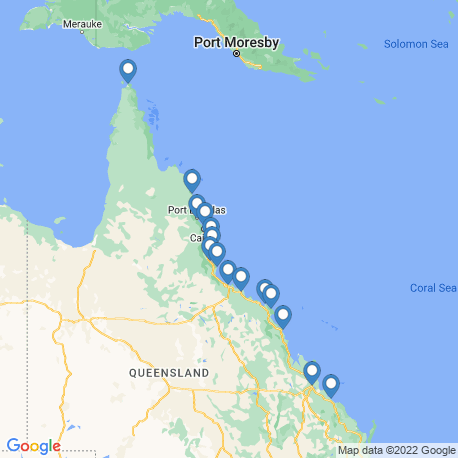 map of fishing charters in Great Barrier Reef