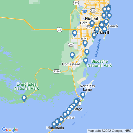 map of fishing charters in Homestead