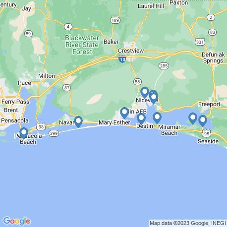 map of fishing charters in Ft. Walton Beach
