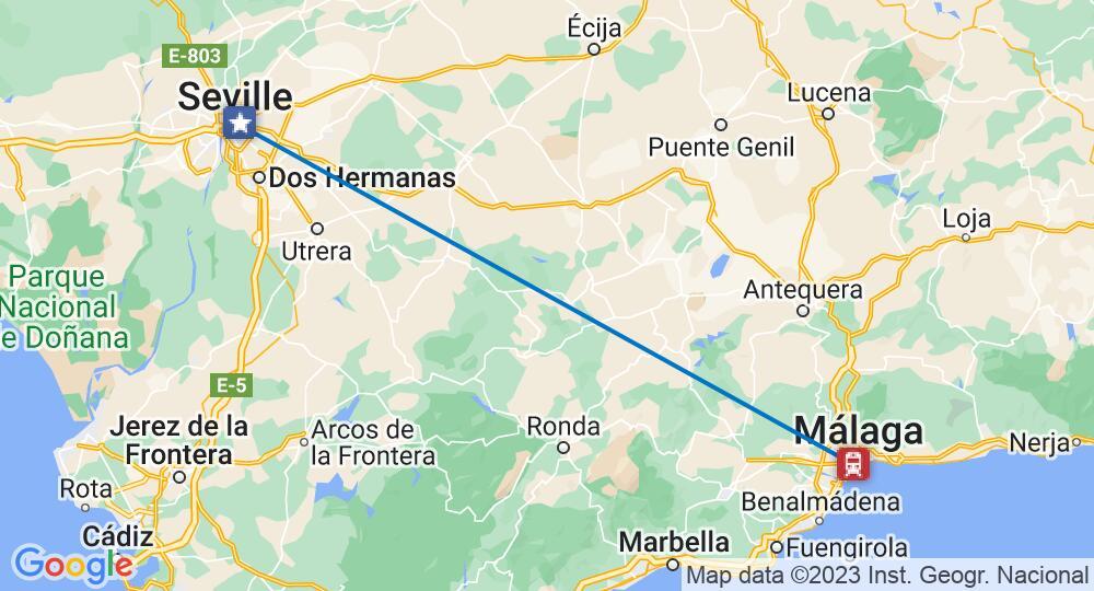 Málaga und Seville auf einer Karte verbunden