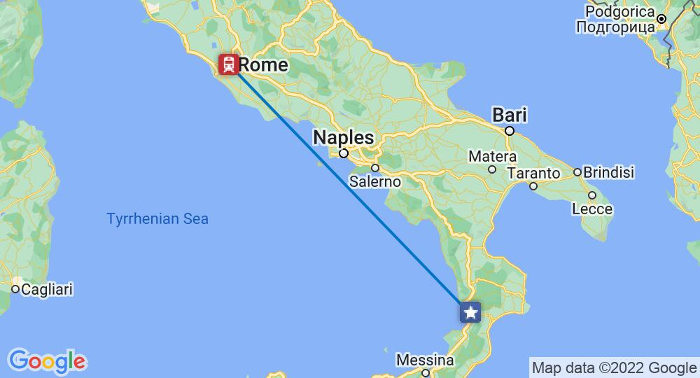 Rome and Lamezia Terme connected on a map