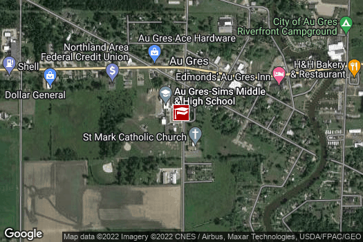 Location Map for Au Gres-Sims Elementary