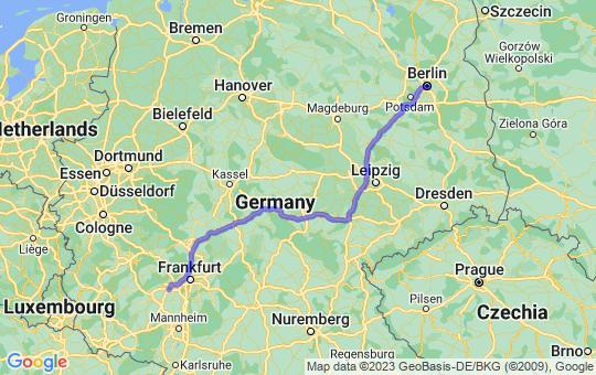 Karte von B nach M