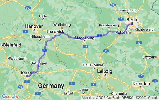 Karte von B nach K