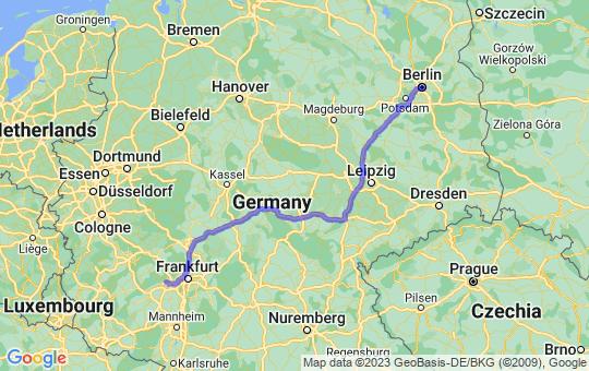 Karte von B nach W