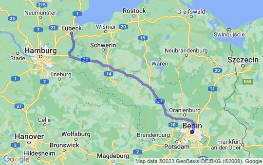 Karte von B nach L