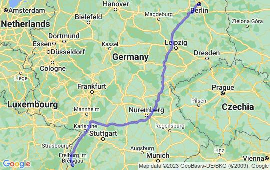 Karte von B nach F
