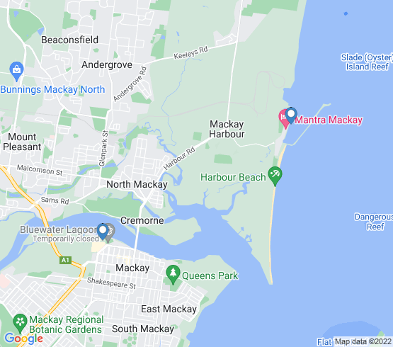 map of fishing charters in Mackay Harbour