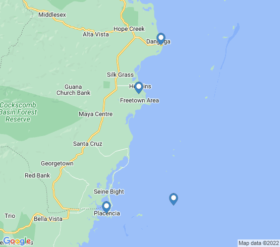 map of fishing charters in Placencia Village
