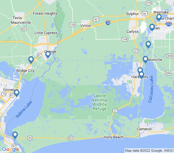 map of fishing charters in Orange