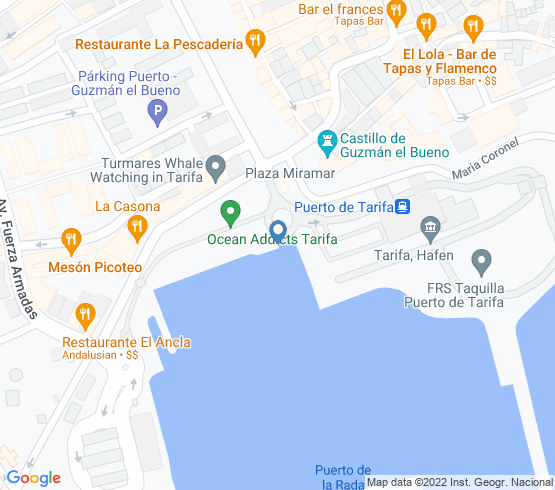 map of fishing charters in Tarifa