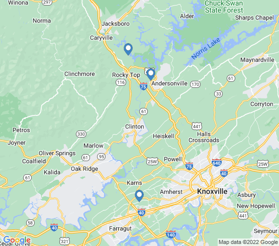 map of fishing charters in Rocky Top