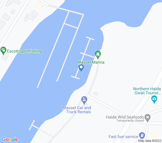 map of fishing charters in Masset