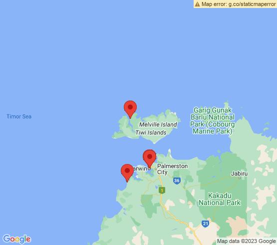 map of Darwin fishing charters
