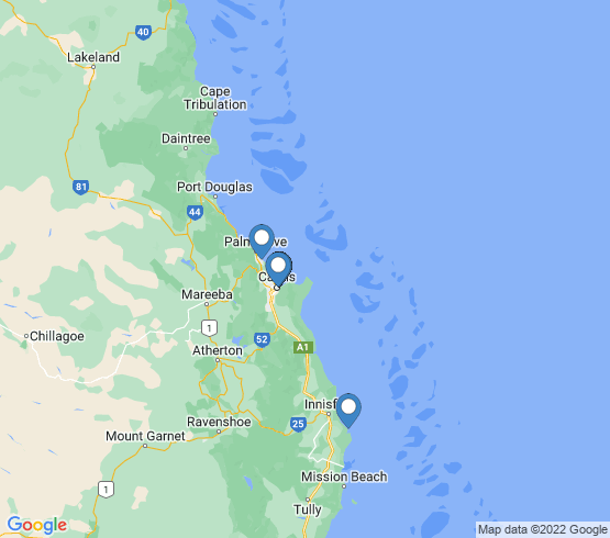 map of Cairns fishing charters