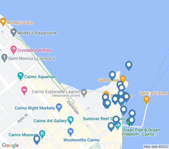 map of Cairns City fishing charters